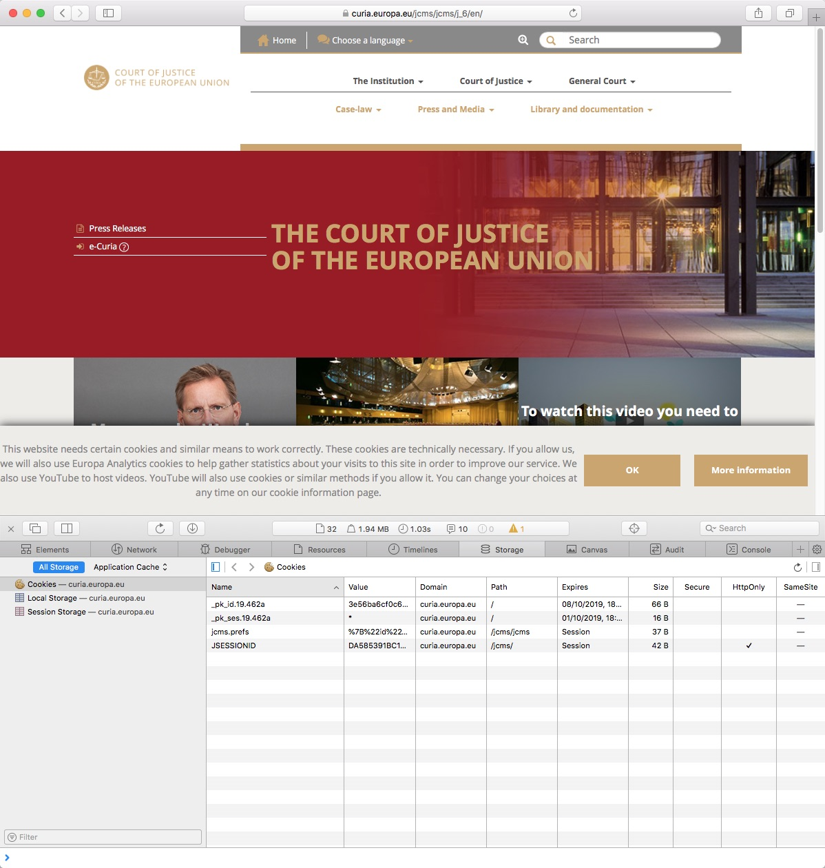 Screenshot of the website of the European Court of Justice with a cookie banner that presumably does not meet the self-imposed requirements