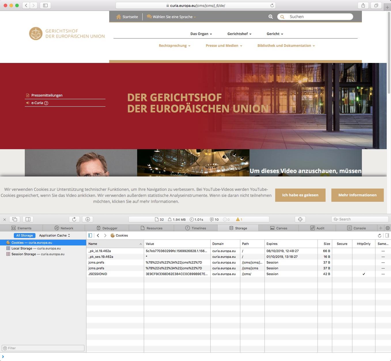 Bildschirmfoto der Seite des Europäischen Gerichtshofs mit Cookie-Banner, das mutmaßlich nicht die selbst aufgestellten Anforderungen erfüllt