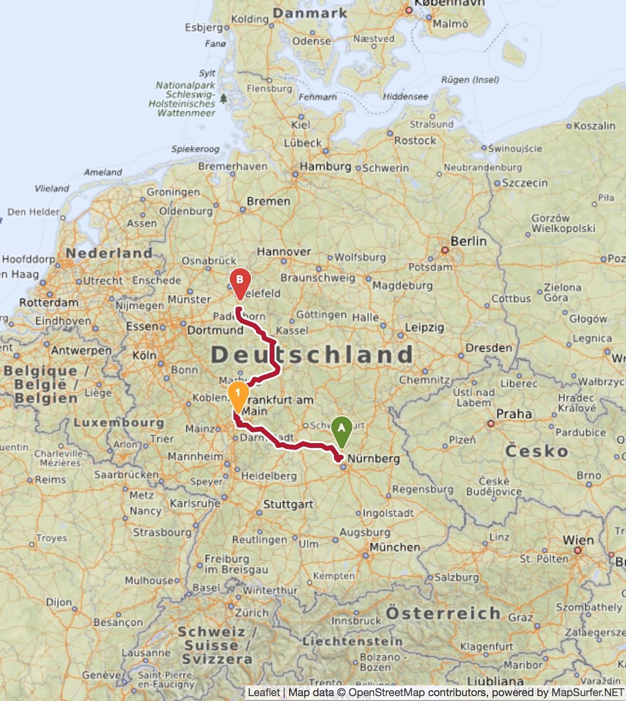 Verbund von Erlangen über Frankfurt nach Paderborn